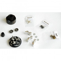 Alpha Plus Alpha Clutch Combo Set (14T Vented Clutch Bell +Bearing 5*10 ( 2pcs) + 34 mm Flywheel(Black) + 3pc Type cluth shoe (Alum) with 3 different springs and washers + Clutch Nut
