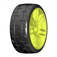 GTY01-S2 1:8 GT - T01 REVO - S2 XSoft - Mounted on New Spoked Yellow Wheel - 1 Pair