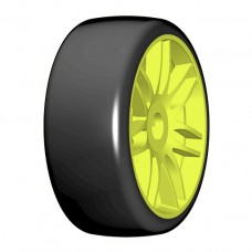GTY02-S4 1:8 GT - T02 SLICK - S4 SoftMedium - Mounted on New Spoked Yellow Wheel - 1 Pair